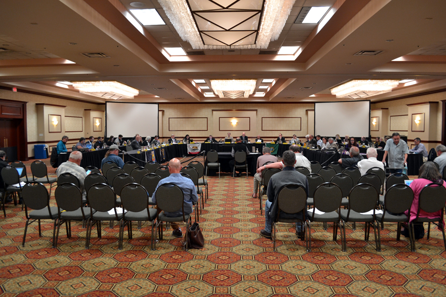 People meeting in a hotel ballroom