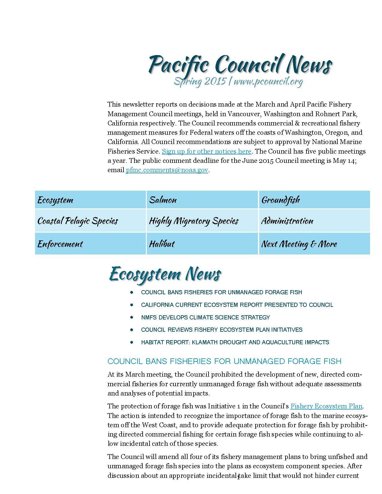 Spring 2015 newsletter image