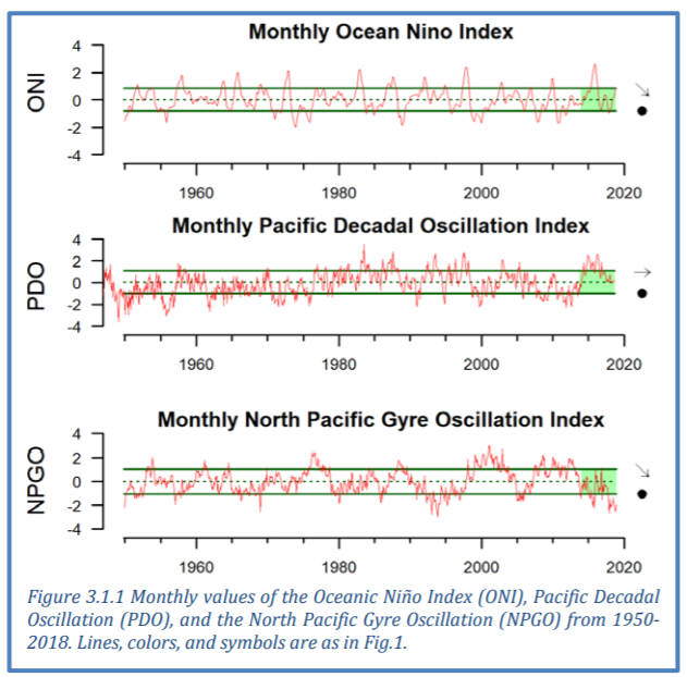 Three graphs showing the monthly El Nino index, the Pacific Decadal Oscillation index, and the monthly North Pacific Gyre Oscillation index from 1950 to 2020
