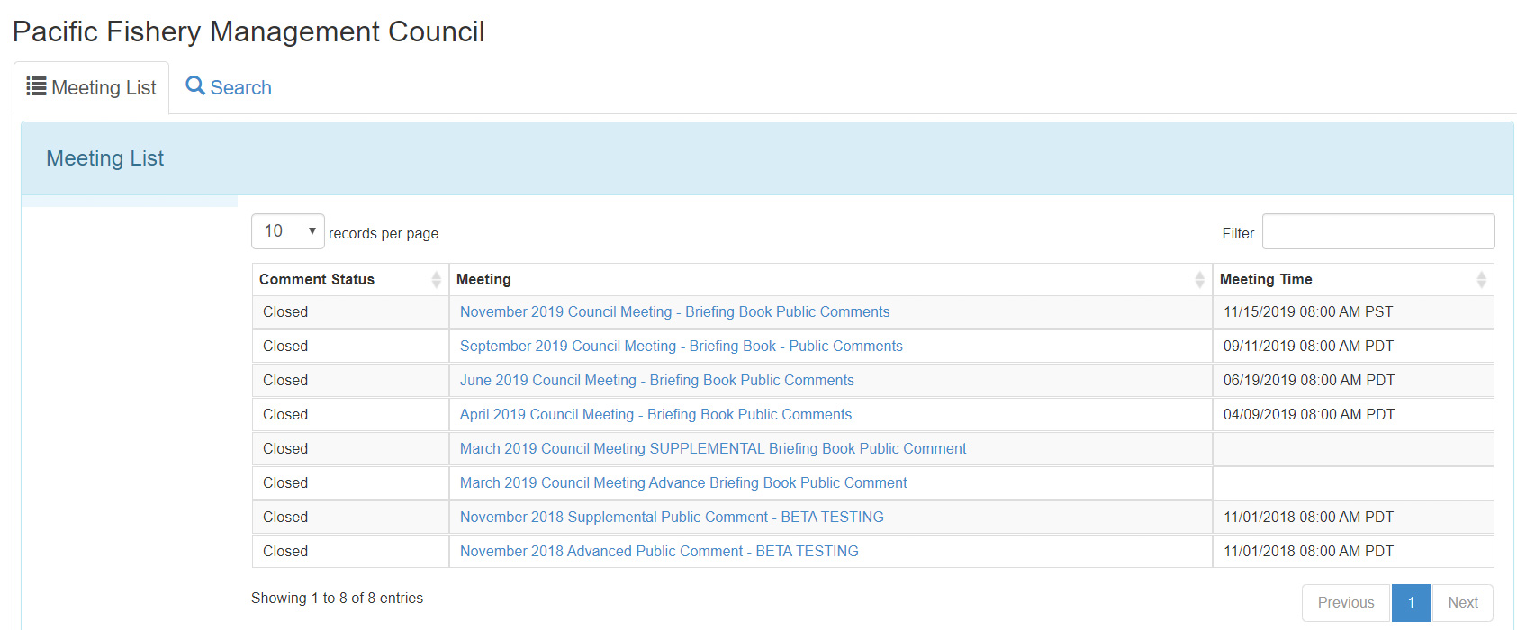 A computer screen showing a series of council meetings from which to choose in order to submit public comment