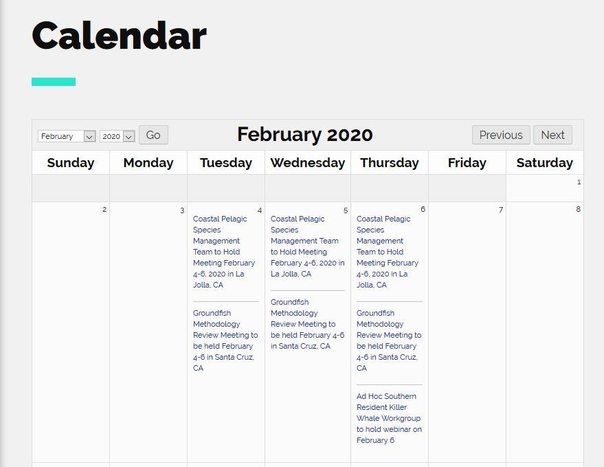 Screenshot of PFMC Calendar page