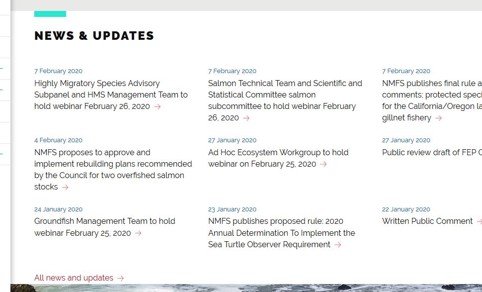 Screenshot of News & Updates section off homepage