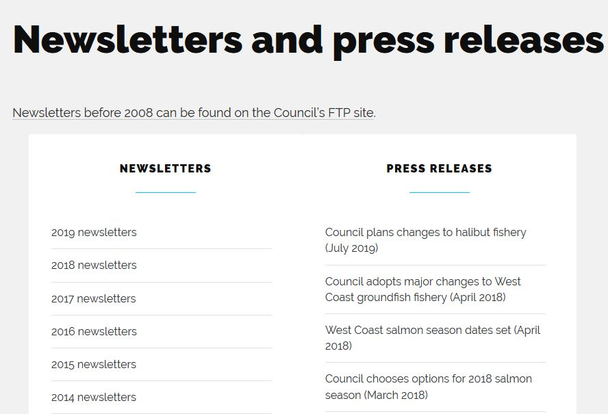 Screenshot of newsletters and press releases page