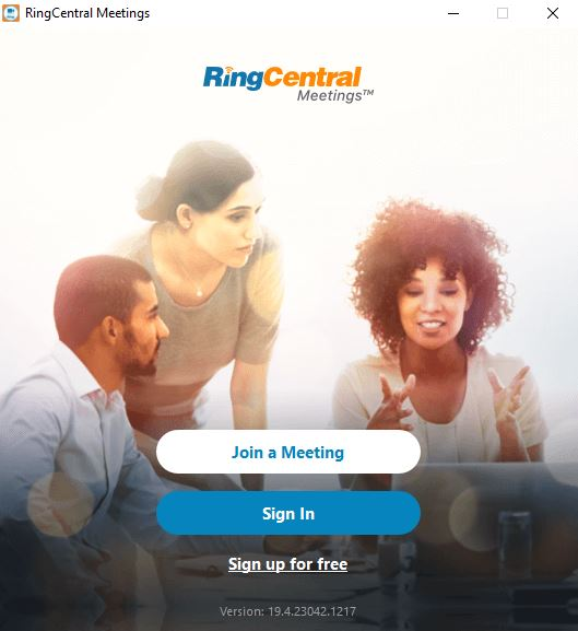 RingCentral Meetings Join screen