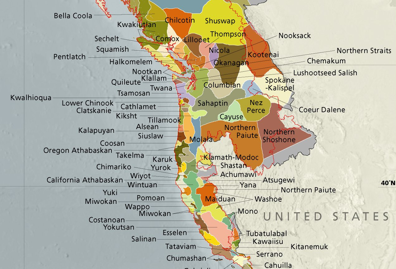 Map of Pacific Coast indigenous nations
