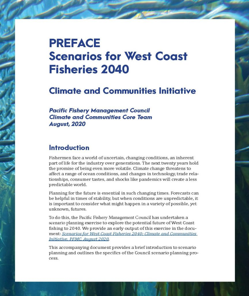 Preface: scenarios for West Coast Fisheries 2040