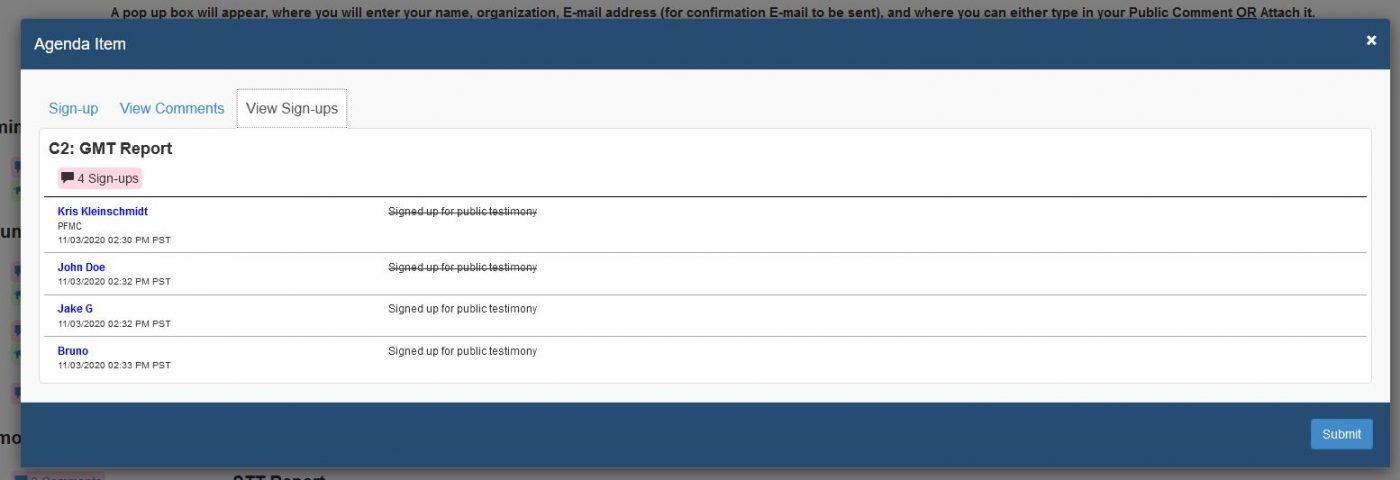 Oral testimony order screenshot